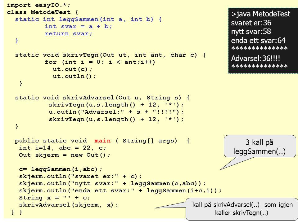 kall av metoder Kall av en metode er: At vi skriver navnet på en metode som (del av) en setning i en annen metode (f.eks i 'main') Når vi gjør det, 'hopper' programutførelsen til starten på den kalte metoden.
