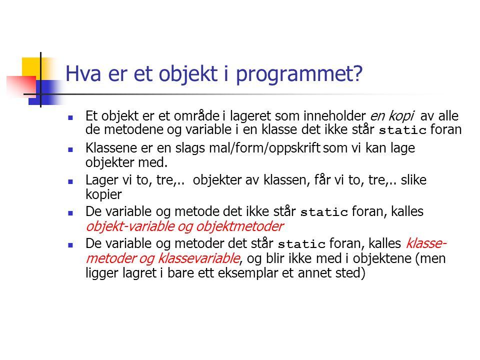 Hvordan lage klasser og objekter i et program.