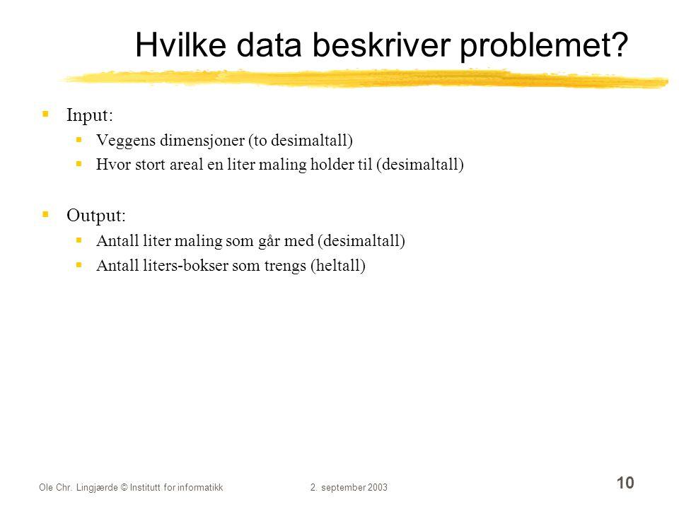 Ole Chr. Lingjærde © Institutt for informatikk2. september 2003 10 Hvilke data beskriver problemet?  Input:  Veggens dimensjoner (to desimaltall) 