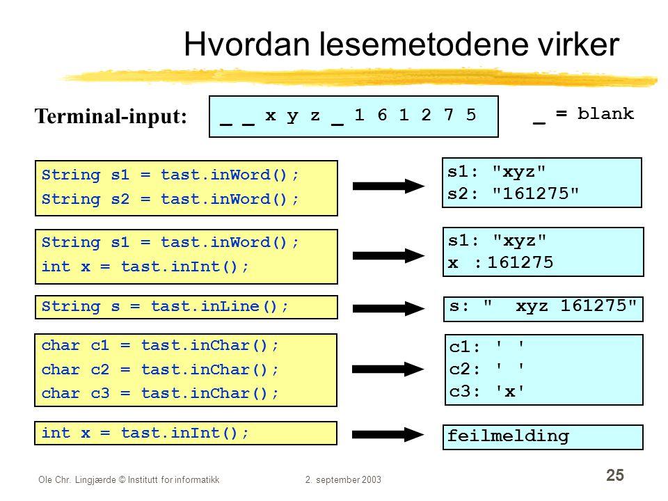 Ole Chr. Lingjærde © Institutt for informatikk2. september 2003 25 Hvordan lesemetodene virker _ _ x y z _ 1 6 1 2 7 5 _ = blank String s1 = tast.inWo