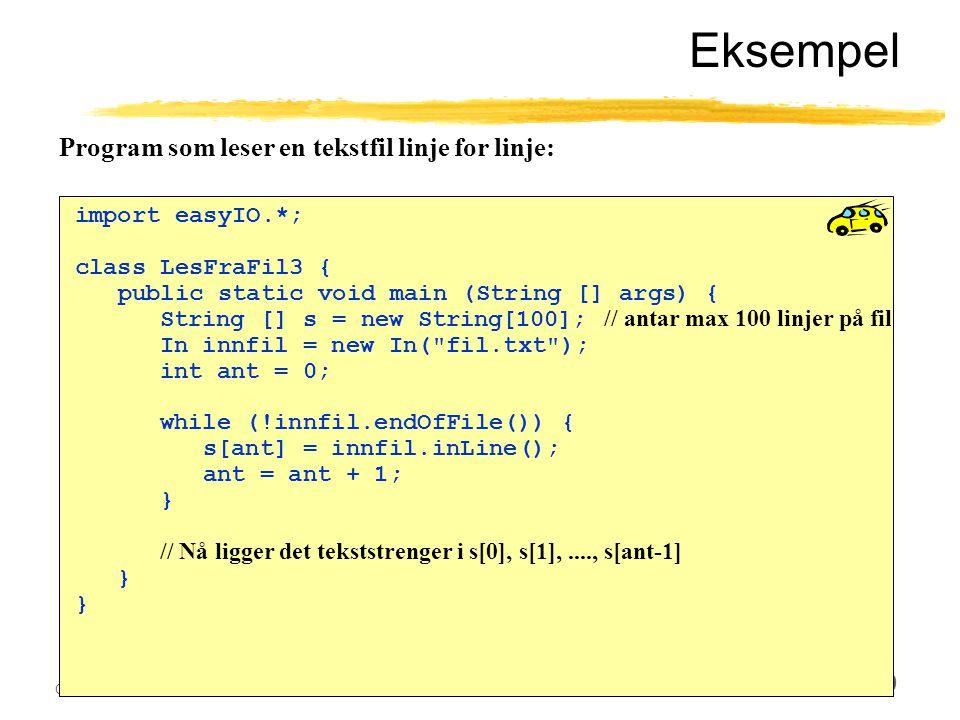 Ole Chr. Lingjærde © Institutt for informatikk28. oktober 2003 30 Eksempel import easyIO.*; class LesFraFil3 { public static void main (String [] args