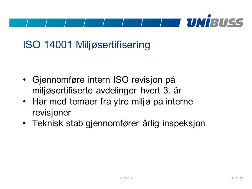 ISO 14001 Miljøsertifisering Gjennomføre intern ISO revisjon på miljøsertifiserte avdelinger hvert 3. år Har med temaer fra ytre miljø på interne revi