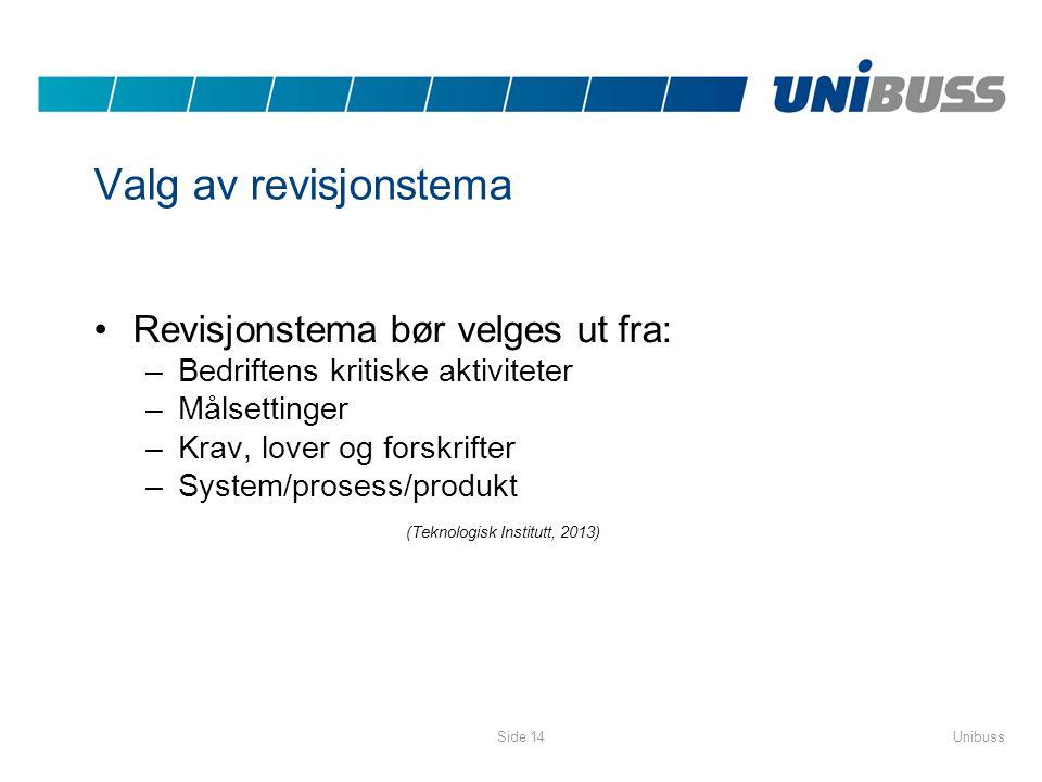 Valg av revisjonstema Revisjonstema bør velges ut fra: –Bedriftens kritiske aktiviteter –Målsettinger –Krav, lover og forskrifter –System/prosess/prod