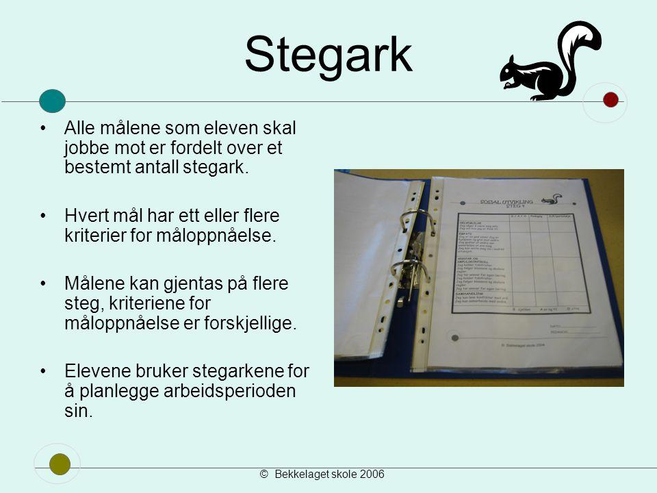 © Bekkelaget skole 2006 Vi har stegark i sosial, matematikk, norsk og engelsk.
