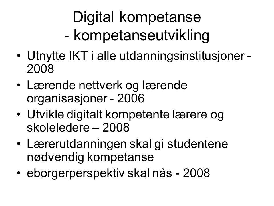 Digital kompetanse - kompetanseutvikling Utnytte IKT i alle utdanningsinstitusjoner - 2008 Lærende nettverk og lærende organisasjoner - 2006 Utvikle digitalt kompetente lærere og skoleledere – 2008 Lærerutdanningen skal gi studentene nødvendig kompetanse eborgerperspektiv skal nås - 2008