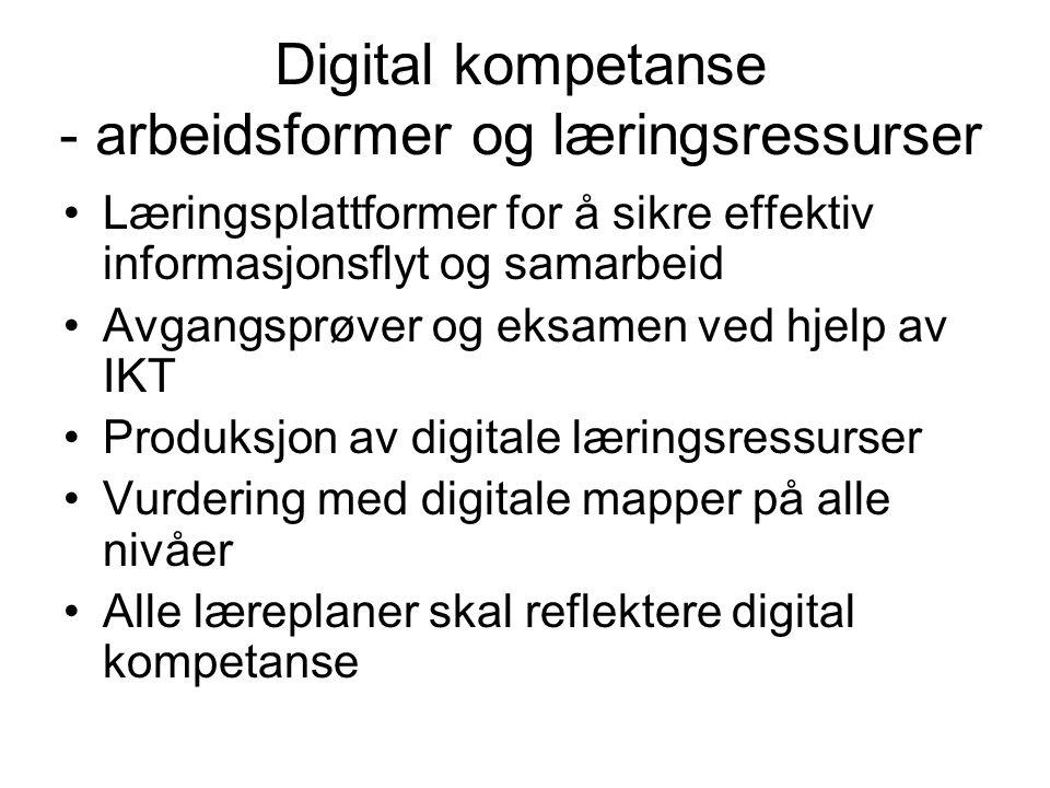 Digital kompetanse - arbeidsformer og læringsressurser Læringsplattformer for å sikre effektiv informasjonsflyt og samarbeid Avgangsprøver og eksamen ved hjelp av IKT Produksjon av digitale læringsressurser Vurdering med digitale mapper på alle nivåer Alle læreplaner skal reflektere digital kompetanse