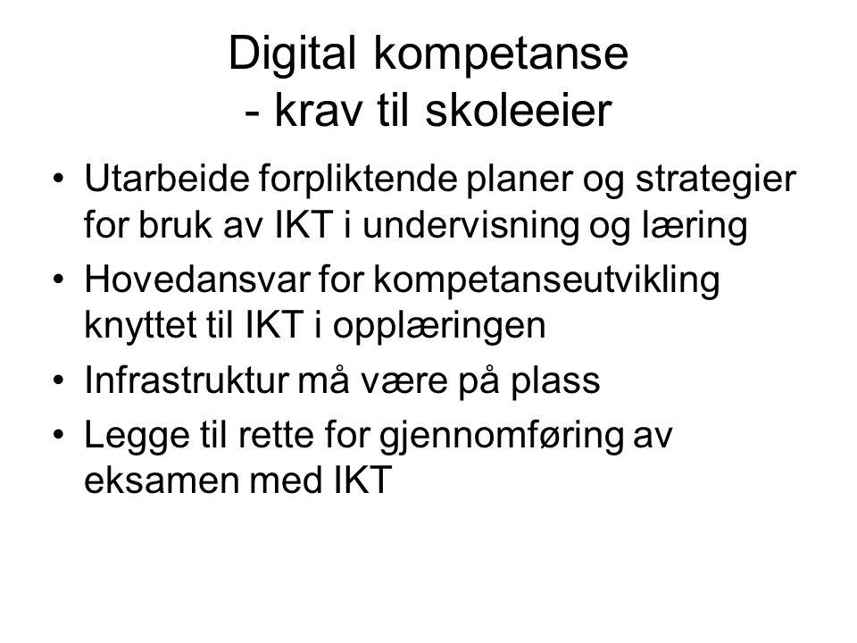 Digital kompetanse - krav til skoleeier Utarbeide forpliktende planer og strategier for bruk av IKT i undervisning og læring Hovedansvar for kompetanseutvikling knyttet til IKT i opplæringen Infrastruktur må være på plass Legge til rette for gjennomføring av eksamen med IKT