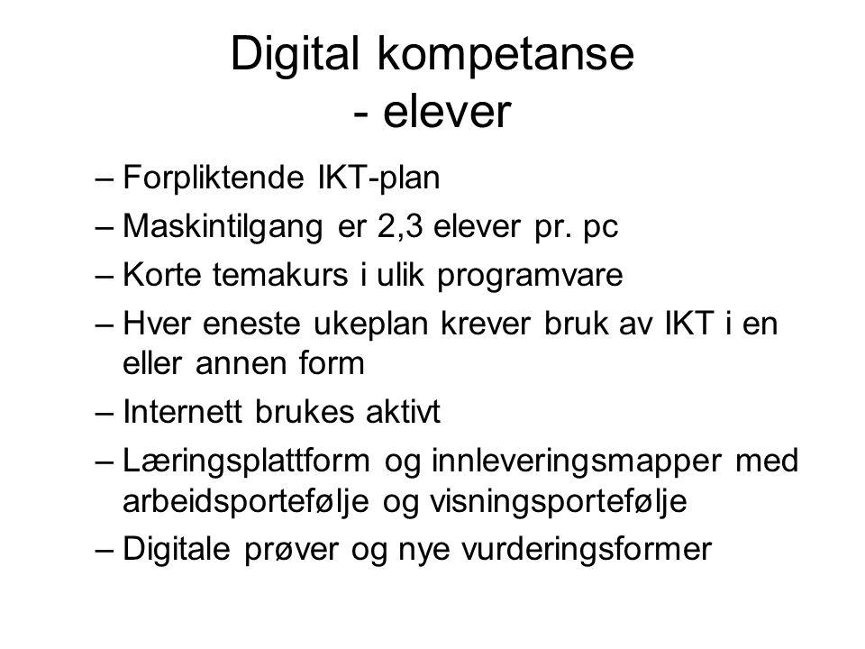Digital kompetanse - elever –Forpliktende IKT-plan –Maskintilgang er 2,3 elever pr.