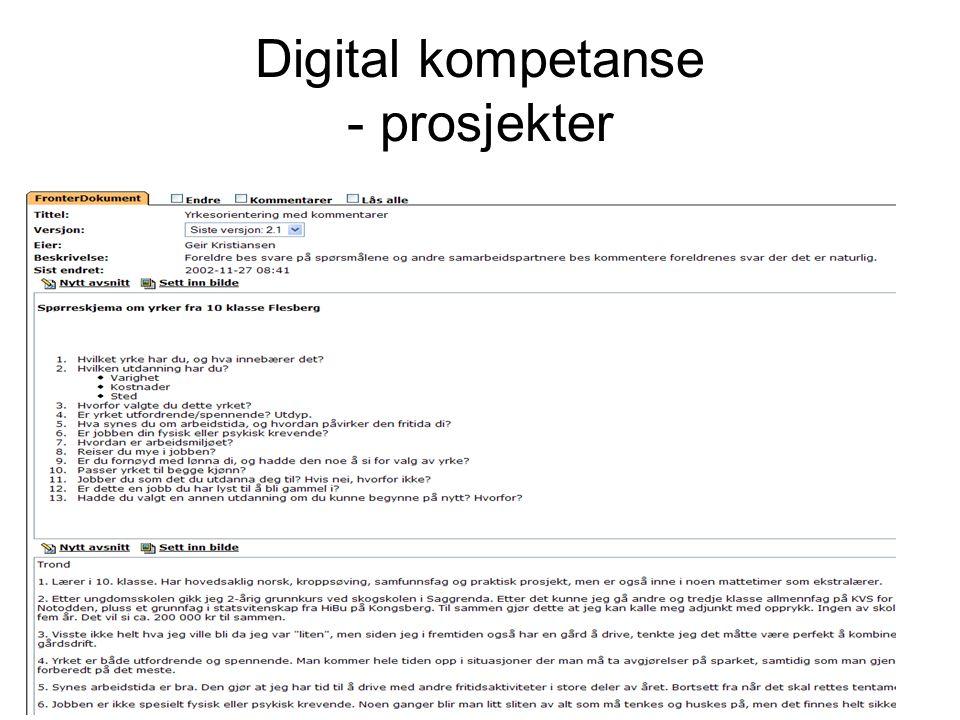 Digital kompetanse - prosjekter