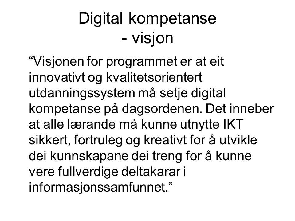 Digital kompetanse - visjon Visjonen for programmet er at eit innovativt og kvalitetsorientert utdanningssystem må setje digital kompetanse på dagsordenen.