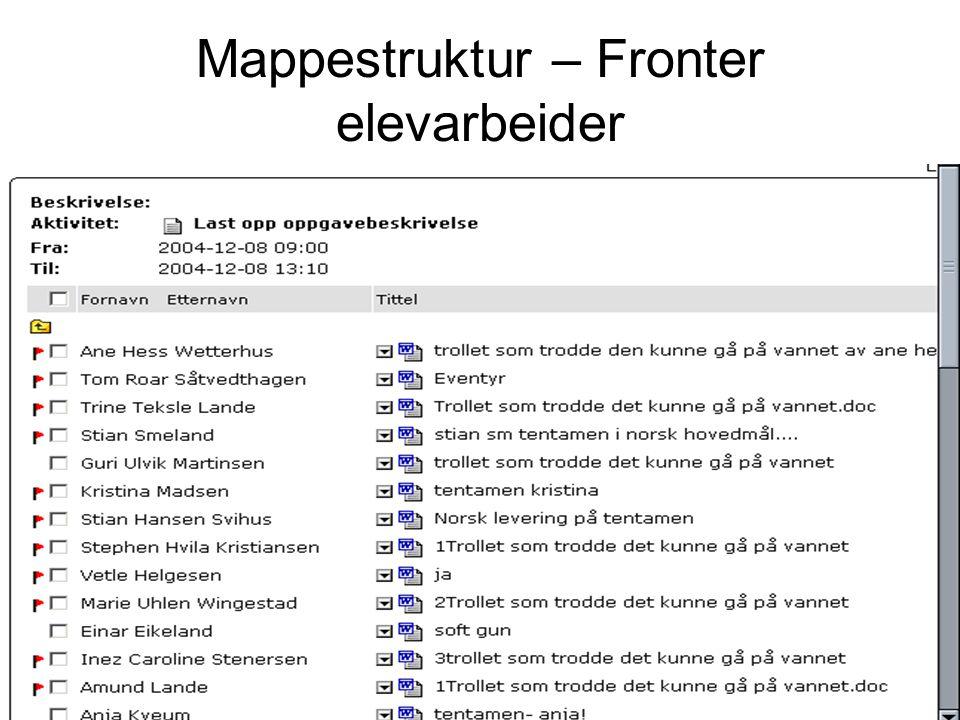 Mappestruktur – Fronter elevarbeider