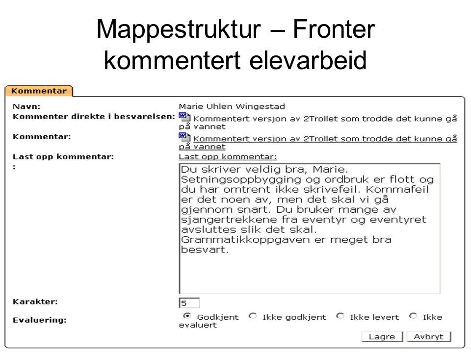 Mappestruktur – Fronter kommentert elevarbeid