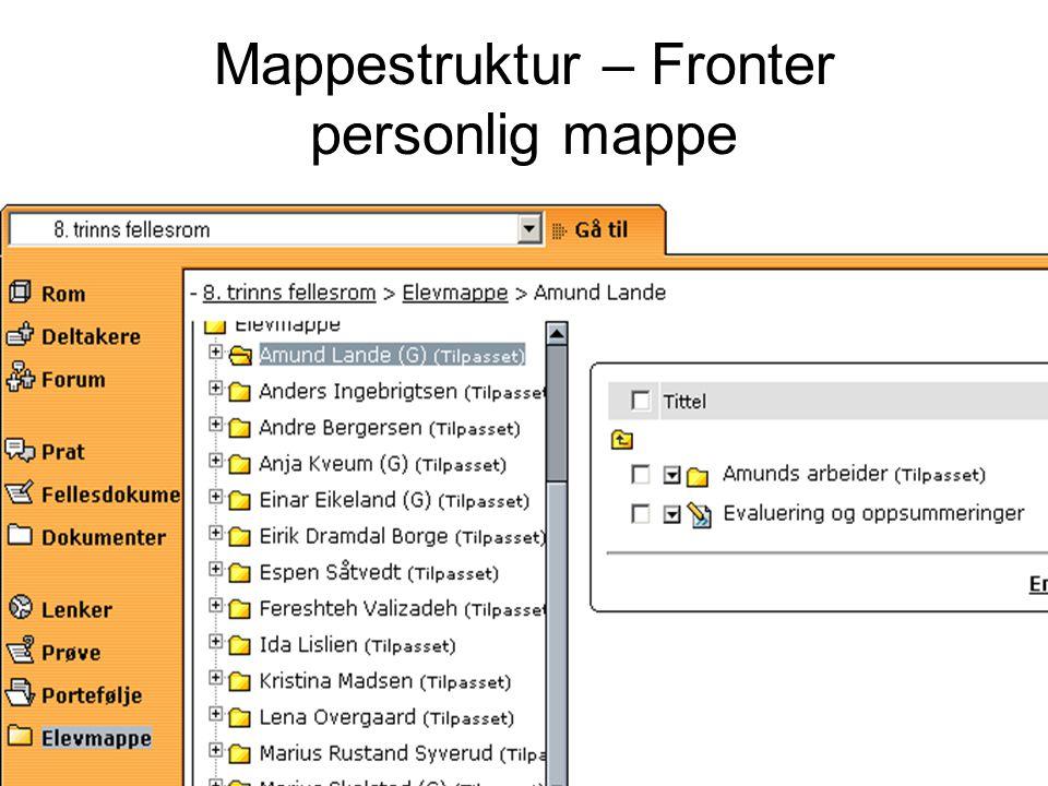 Mappestruktur – Fronter personlig mappe