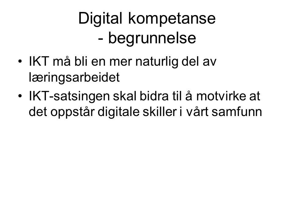 Digital kompetanse - begrunnelse IKT må bli en mer naturlig del av læringsarbeidet IKT-satsingen skal bidra til å motvirke at det oppstår digitale skiller i vårt samfunn