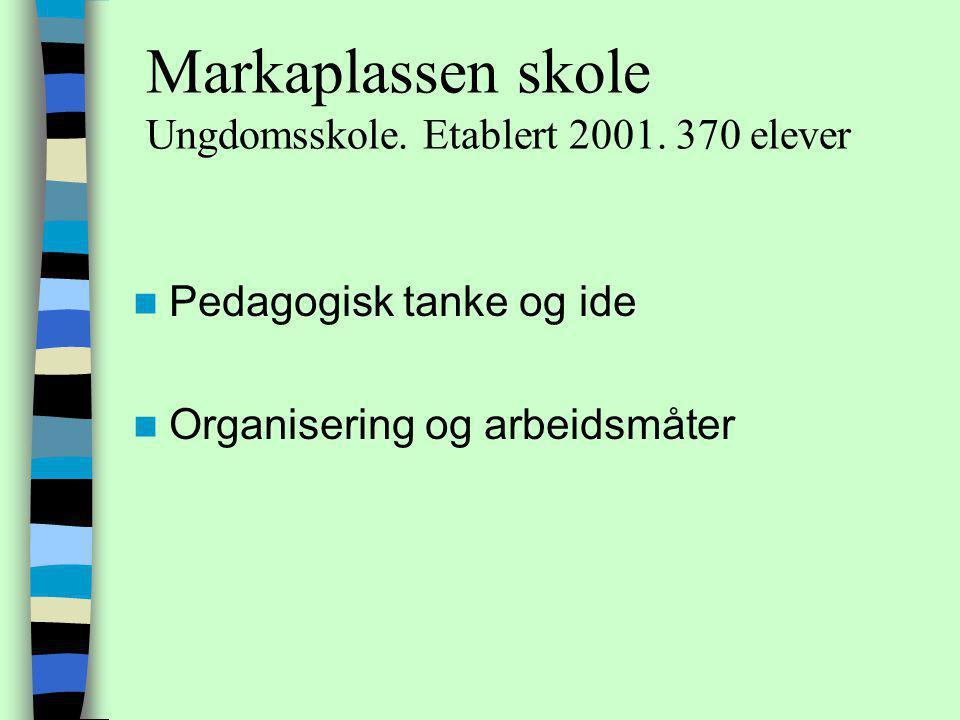 Markaplassen skole Ungdomsskole.Etablert 2001.