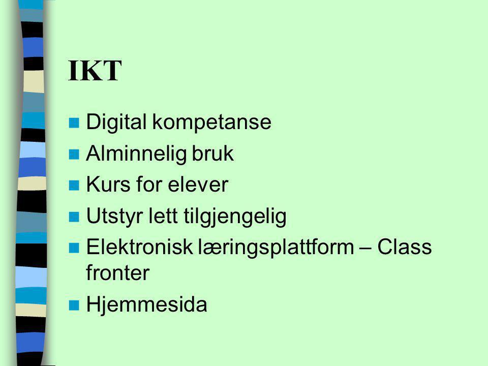 IKT Digital kompetanse Alminnelig bruk Kurs for elever Utstyr lett tilgjengelig Elektronisk læringsplattform – Class fronter Hjemmesida