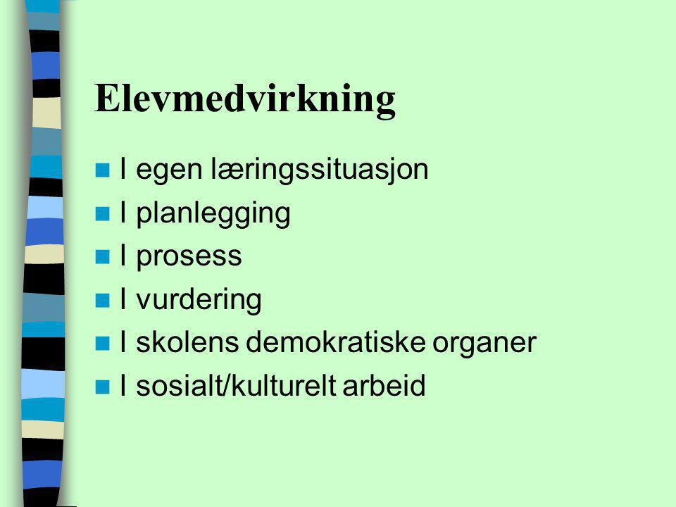 Elevmedvirkning I egen læringssituasjon I planlegging I prosess I vurdering I skolens demokratiske organer I sosialt/kulturelt arbeid