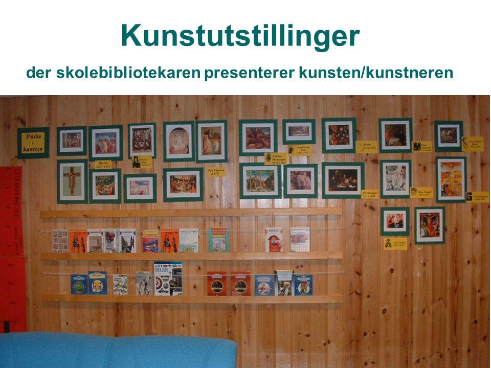 Kunstutstillinger der skolebibliotekaren presenterer kunsten/kunstneren
