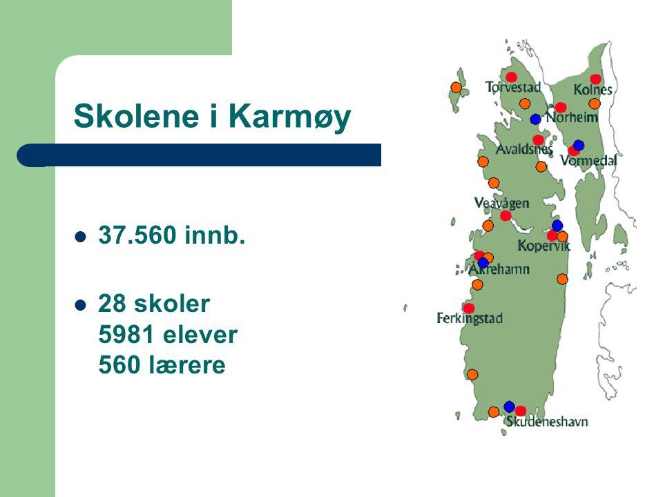 Skolene i Karmøy 37.560 innb. 28 skoler 5981 elever 560 lærere