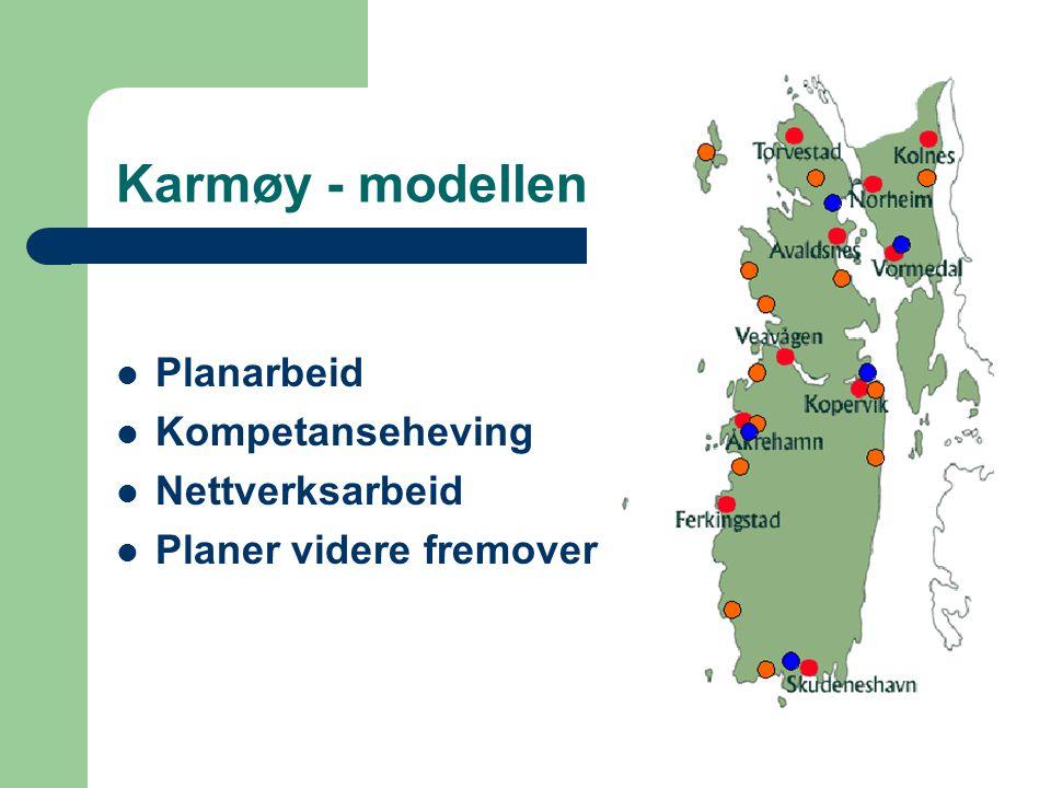 Karmøy - modellen Planarbeid Kompetanseheving Nettverksarbeid Planer videre fremover