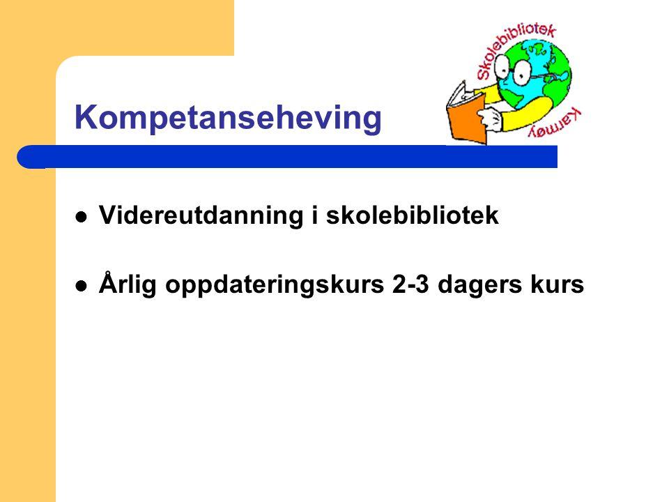 Kompetanseheving Videreutdanning i skolebibliotek Årlig oppdateringskurs 2-3 dagers kurs