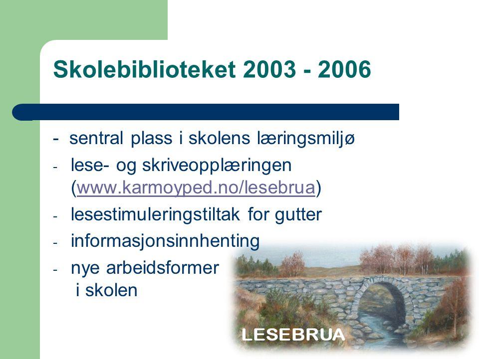 - sentral plass i skolens læringsmiljø - lese- og skriveopplæringen (www.karmoyped.no/lesebrua)www.karmoyped.no/lesebrua - lesestimuleringstiltak for gutter - informasjonsinnhenting - nye arbeidsformer i skolen Skolebiblioteket 2003 - 2006