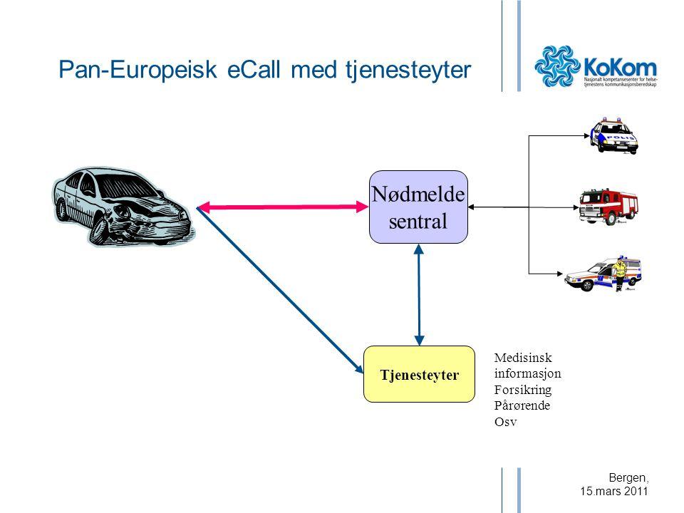 Bergen, 15.mars 2011 Nødmelde sentral Tjenesteyter Medisinsk informasjon Forsikring Pårørende Osv Pan-Europeisk eCall med tjenesteyter