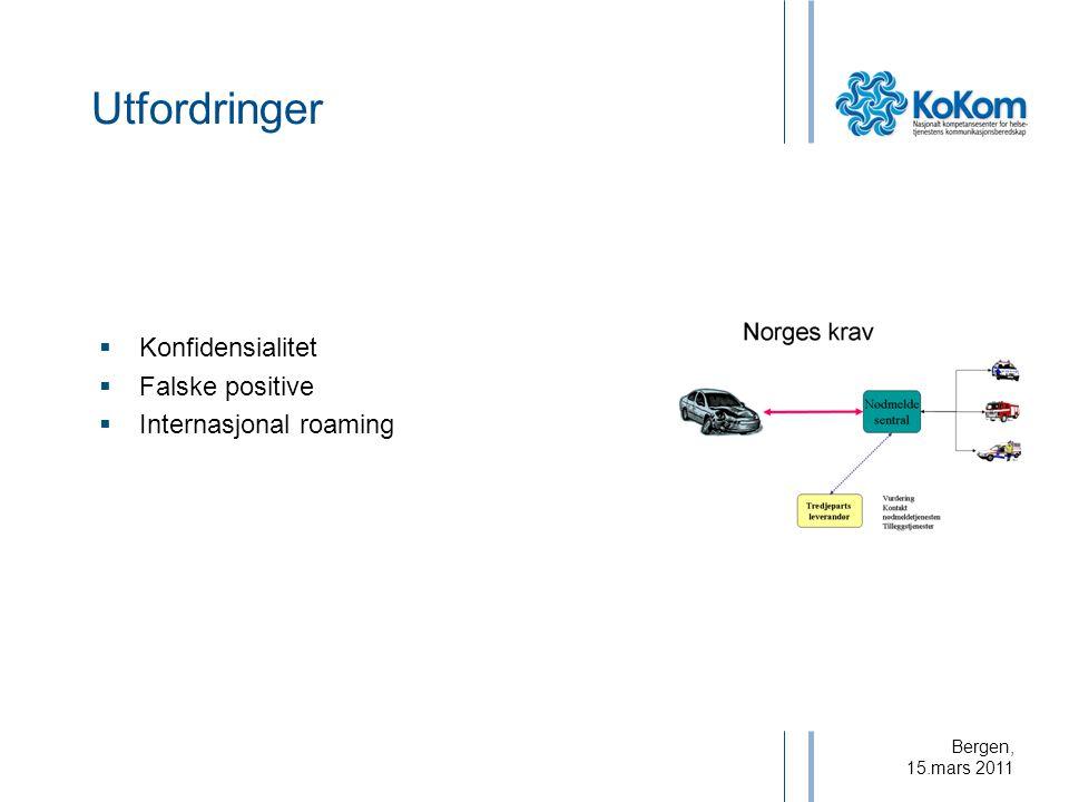 Bergen, 15.mars 2011 Utfordringer  Konfidensialitet  Falske positive  Internasjonal roaming