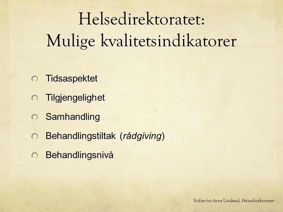 Helsedirektoratet: Mulige kvalitetsindikatorer Tidsaspektet Tilgjengelighet Samhandling Behandlingstiltak (rådgiving) Behandlingsnivå Stjålet fra Arne Lindstad, Helsedirektoratet
