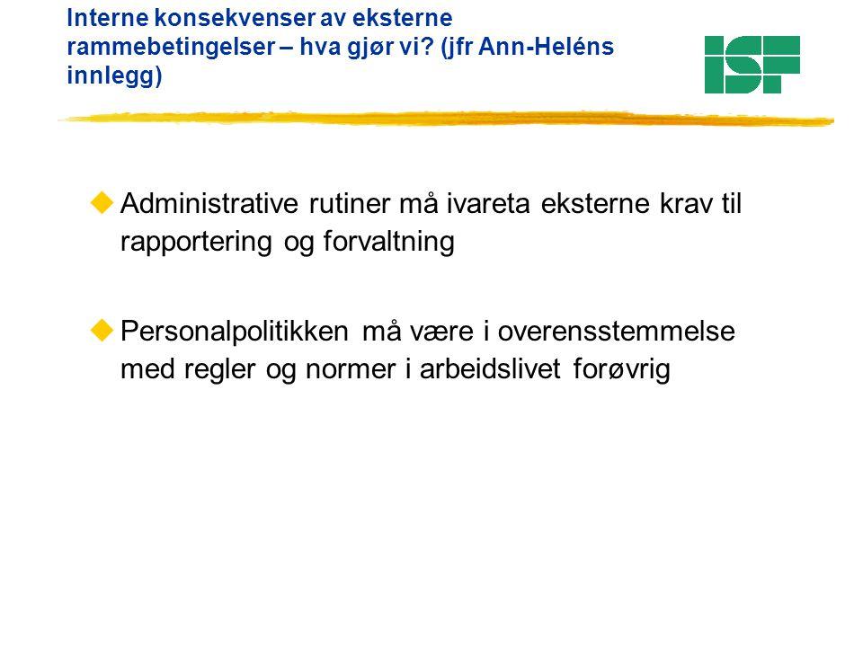 Interne konsekvenser av eksterne rammebetingelser – hva gjør vi? (jfr Ann-Heléns innlegg) uAdministrative rutiner må ivareta eksterne krav til rapport