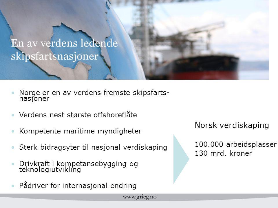 En av verdens ledende skipsfartsnasjoner Norsk verdiskaping 100.000 arbeidsplasser 130 mrd. kroner Norge er en av verdens fremste skipsfarts- nasjoner