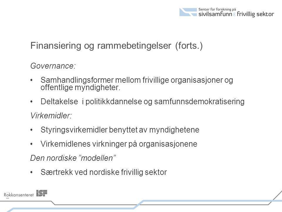 Finansiering og rammebetingelser (forts.) Governance: Samhandlingsformer mellom frivillige organisasjoner og offentlige myndigheter. Deltakelse i poli