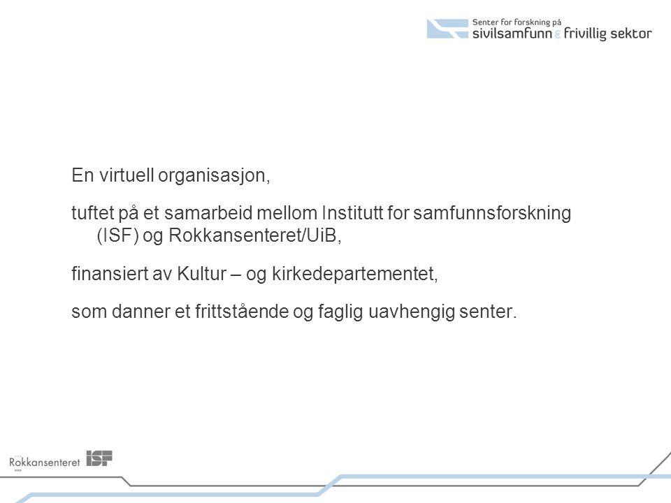 En virtuell organisasjon, tuftet på et samarbeid mellom Institutt for samfunnsforskning (ISF) og Rokkansenteret/UiB, finansiert av Kultur – og kirkede