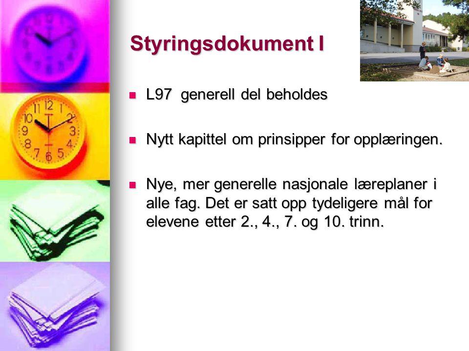 Styringsdokument I L97 generell del beholdes L97 generell del beholdes Nytt kapittel om prinsipper for opplæringen. Nytt kapittel om prinsipper for op