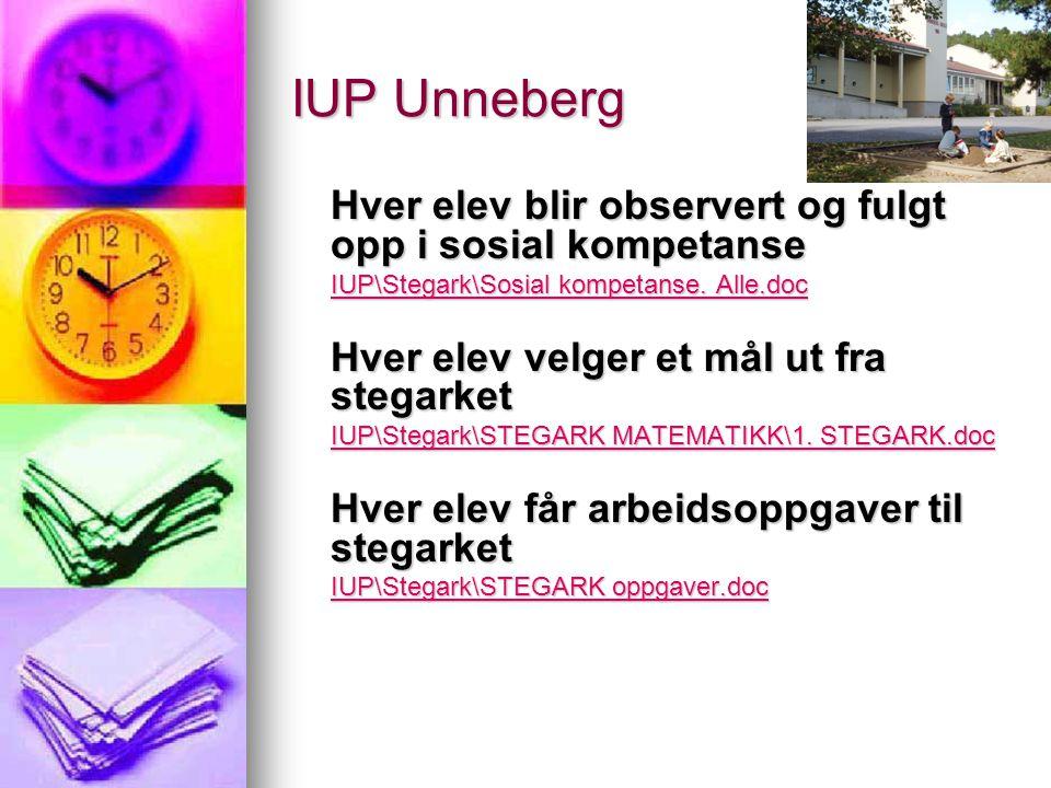 IUP Unneberg Hver elev blir observert og fulgt opp i sosial kompetanse IUP\Stegark\Sosial kompetanse. Alle.doc IUP\Stegark\Sosial kompetanse. Alle.doc