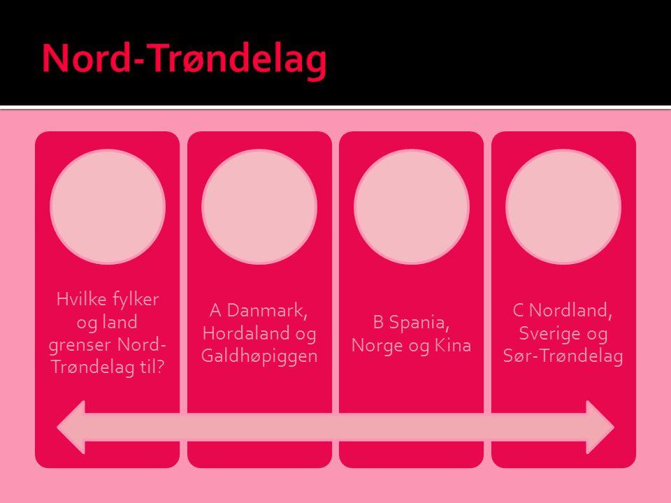 Hvilke fylker og land grenser Nord- Trøndelag til? A Danmark, Hordaland og Galdhøpiggen B Spania, Norge og Kina C Nordland, Sverige og Sør-Trøndelag