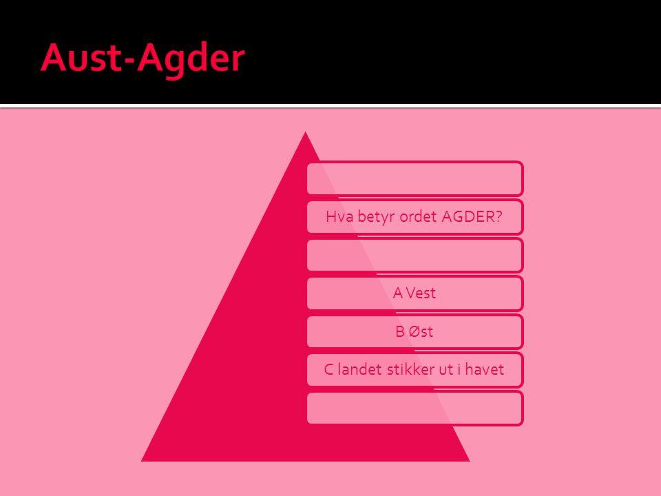 Hva betyr ordet AGDER?A VestB ØstC landet stikker ut i havet