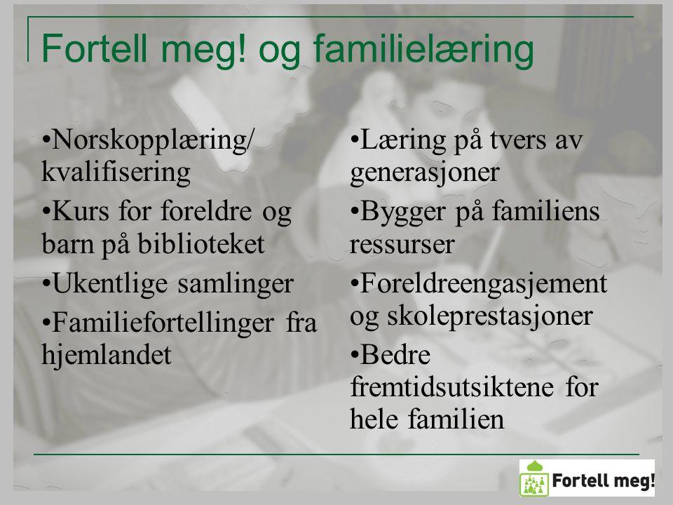 Voksenopplæring/ bibliotek Integrering Synliggjøring Samfunnsdeltakelse Språk- lesestimulering