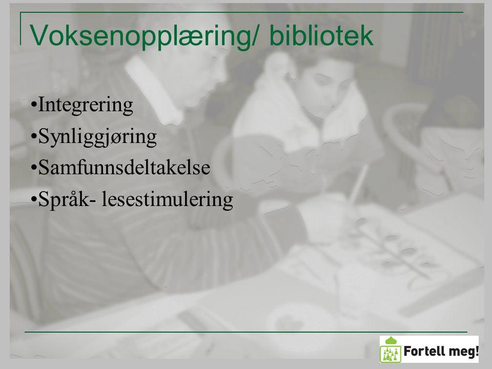 Skjæringspunkt og potensial Møteplass Utvikle verktøy til å nå nye brukere Utvikle biblioteket som læringsarena Muntlig fortelling i norskopplæring Samfunnsdeltakelse Anerkjennelse av egen bakgrunn