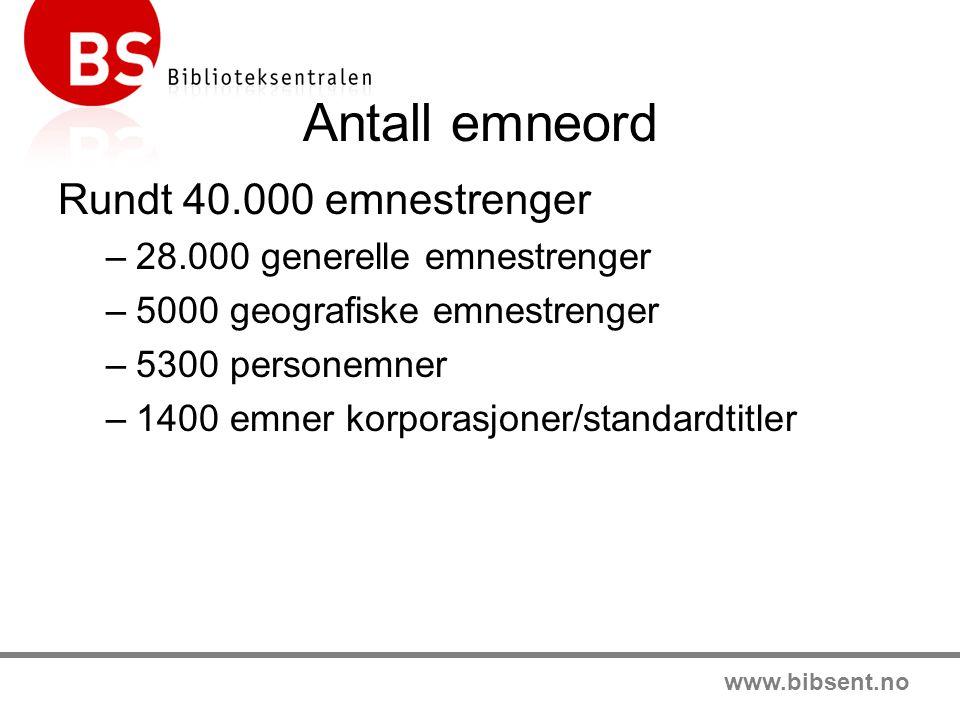 www.bibsent.no Antall emneord Rundt 40.000 emnestrenger –28.000 generelle emnestrenger –5000 geografiske emnestrenger –5300 personemner –1400 emner ko