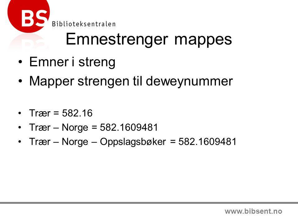 www.bibsent.no Emnestrenger mappes Emner i streng Mapper strengen til deweynummer Trær = 582.16 Trær – Norge = 582.1609481 Trær – Norge – Oppslagsbøker = 582.1609481