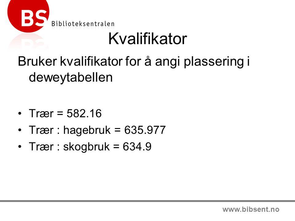 www.bibsent.no Kvalifikator Bruker kvalifikator for å angi plassering i deweytabellen Trær = 582.16 Trær : hagebruk = 635.977 Trær : skogbruk = 634.9
