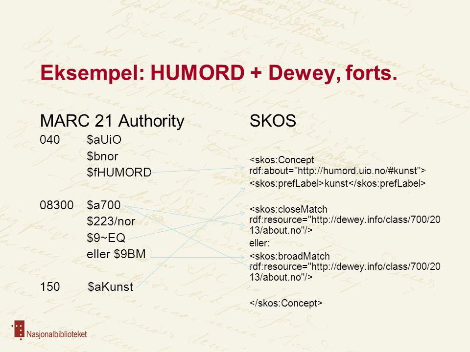 Eksempel: HUMORD + Dewey, forts.