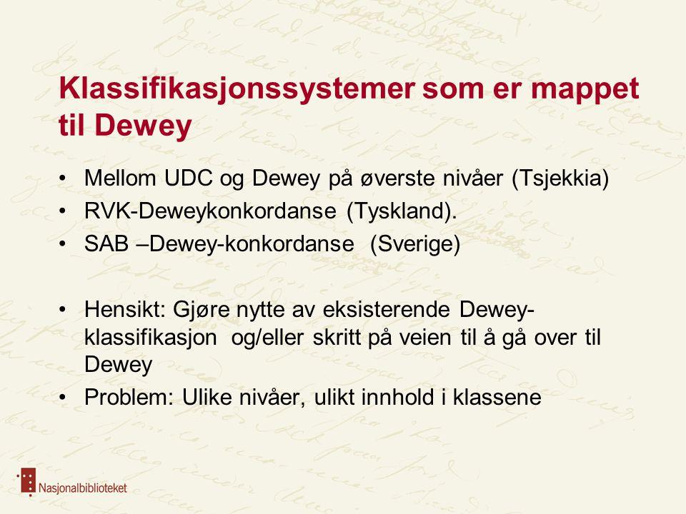 Klassifikasjonssystemer som er mappet til Dewey Mellom UDC og Dewey på øverste nivåer (Tsjekkia) RVK-Deweykonkordanse (Tyskland).