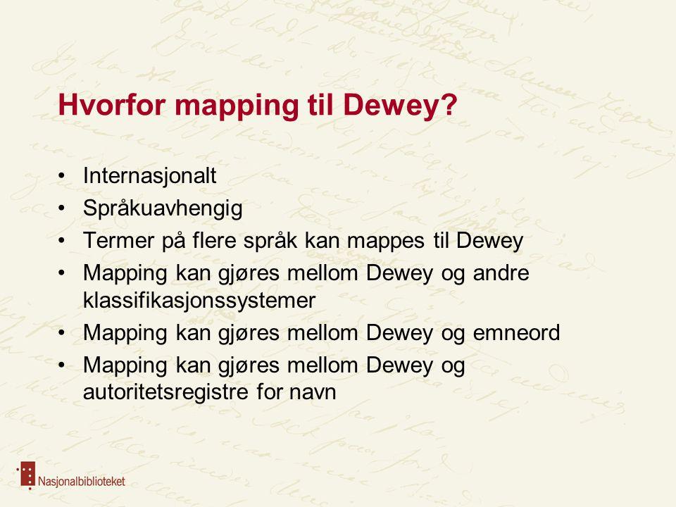 Mapping til Dewey -for klassifikator Hjelp til klassifikasjon -flere termer å søke på Hjelp til å sette emneord - flere termer å søke på Letter gjenbruk og utveksling av data Mapping mellom Dewey og emneord på flere språk