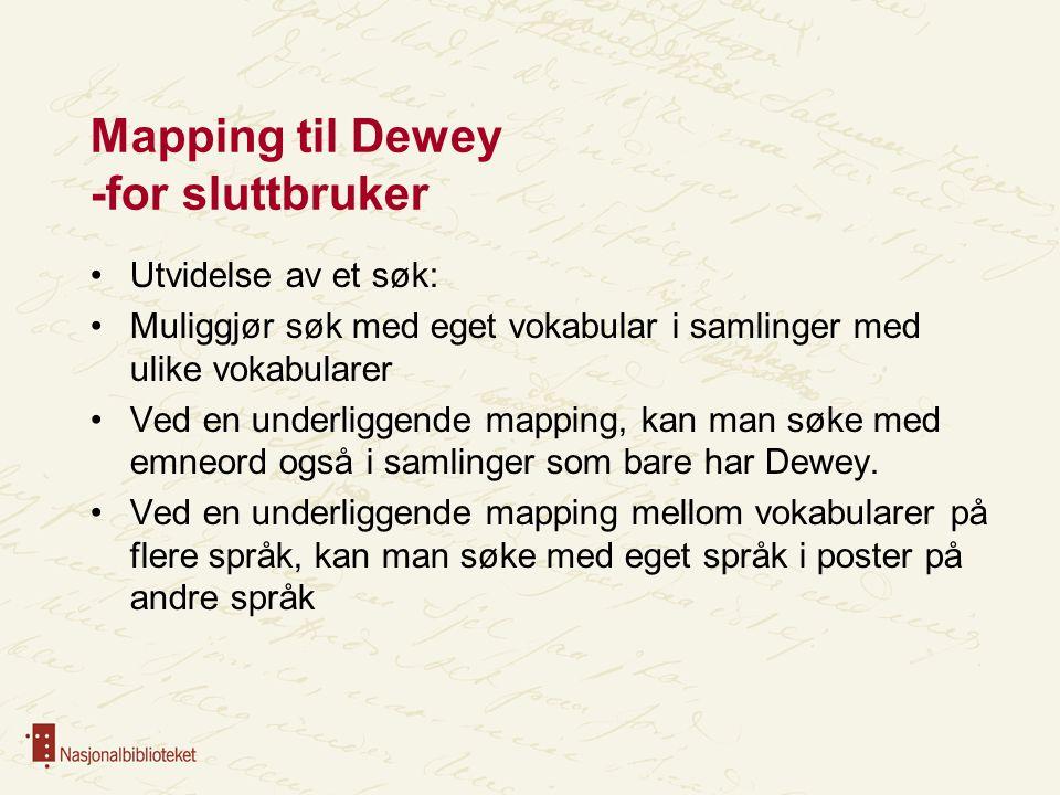 Mapping til Dewey -for sluttbruker Utvidelse av et søk: Muliggjør søk med eget vokabular i samlinger med ulike vokabularer Ved en underliggende mapping, kan man søke med emneord også i samlinger som bare har Dewey.