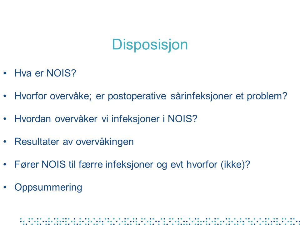 Disposisjon Hva er NOIS? Hvorfor overvåke; er postoperative sårinfeksjoner et problem? Hvordan overvåker vi infeksjoner i NOIS? Resultater av overvåki