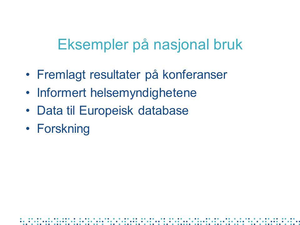 Eksempler på nasjonal bruk Fremlagt resultater på konferanser Informert helsemyndighetene Data til Europeisk database Forskning