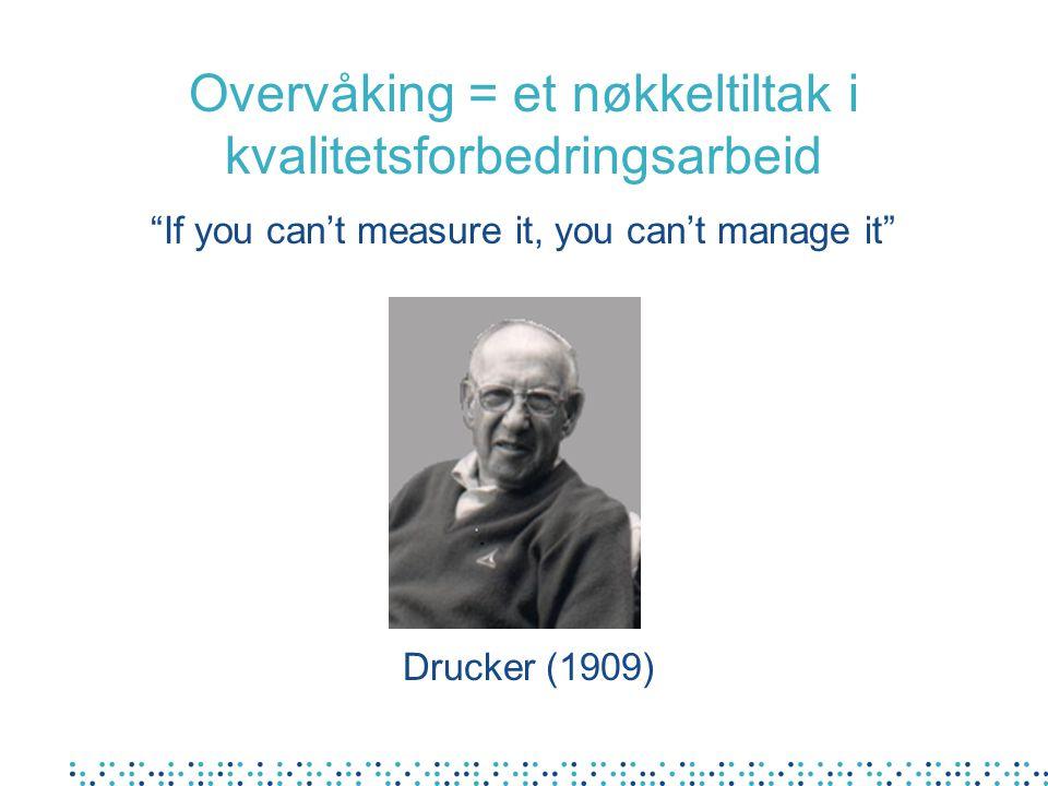 "Drucker (1909) ""If you can't measure it, you can't manage it"" Overvåking = et nøkkeltiltak i kvalitetsforbedringsarbeid"