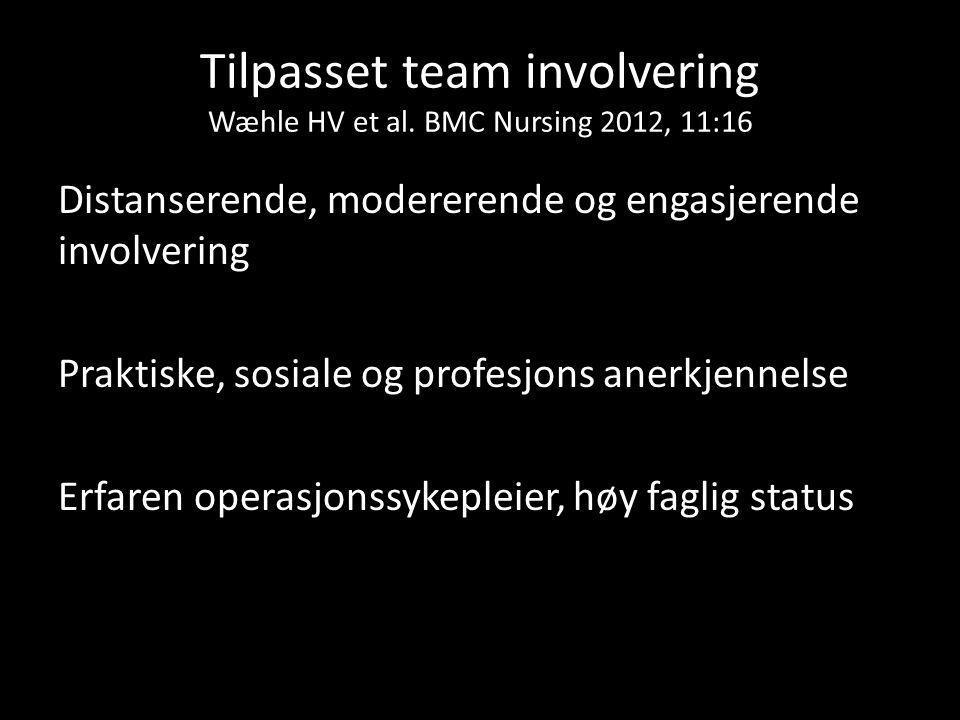 Tilpasset team involvering Wæhle HV et al. BMC Nursing 2012, 11:16 Distanserende, modererende og engasjerende involvering Praktiske, sosiale og profes